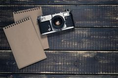 Old rangefinder vintage and retro photo camera with vintage color effect Royalty Free Stock Photos