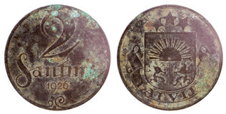 Old rare latvian coin Royalty Free Stock Images