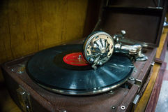 Old rarity gramophone with record. Vintage musical instrument Museum Stock Images