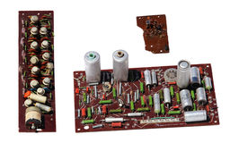 Old rarity radio, tv board with electronic components, printed c. Ircuit board, resistor, capacitor, resistance, FET Stock Photos