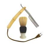 Old razor and shaving brush royalty free stock image
