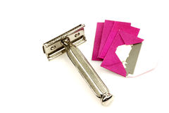 Old razor and some spare blades Royalty Free Stock Photo