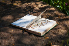 Old reading book and spectacles Royalty Free Stock Photos