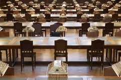 Old reading room. Seats in a lecture hall with lamps stock photography