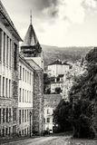 Old real school in mining town Banska Stiavnica, colorless Stock Photo