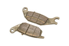 Old Rear Disc Brake Pads of Sport bike Stock Photo