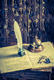 Old reception in hotel with guestbook and keys for rooms Stock Images