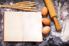 Old recipe book with ingredients for cooking Stock Photo