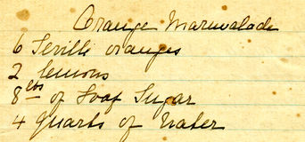Old recipe handwriting detail. For orange marmaladde Stock Images
