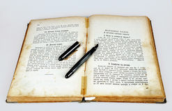 Old recipes book with pen Stock Images