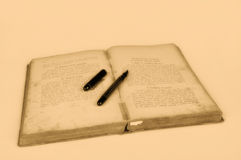 Old recipes book with pen Stock Photography