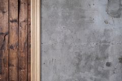 Old reclaimed timber and concrete wall stock image