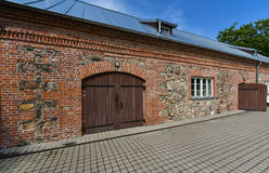 Old reconstructed house, Kretinga, Lithuania. Old reconstructed brick house in Kretinga, Lithuania Royalty Free Stock Photo