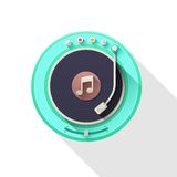 Old record player icon. Royalty Free Stock Photos