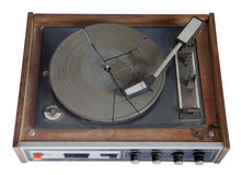 Old record-player isolated on white background Royalty Free Stock Photography