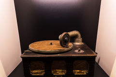 Old record player machine. Without gramophone or phonograph disk royalty free stock photo