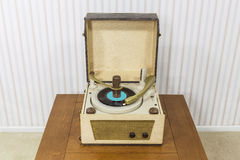 Old Record Player on Table Stock Image