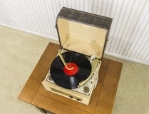 Old Record Player with Vintage Vinyl Disk Stock Photos