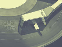 Old record player of vinyl plates Stock Image