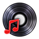 Old record and symbol music Royalty Free Stock Photo