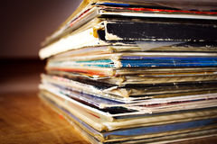 Old records. Covers of old records. Close up from bottom view Royalty Free Stock Images