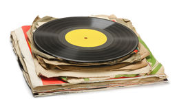 Old records. Stack of old vinyl records isolated on white Royalty Free Stock Photos