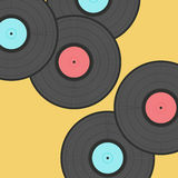 Old records  on stylish yellow background Stock Image
