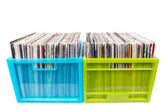 Old records in two plastic boxes Royalty Free Stock Image