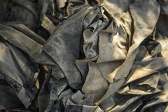 Old recycled fabrics. A pile of old recycled fabrics royalty free stock images