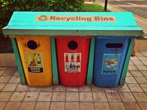 Old recycling bins Royalty Free Stock Images