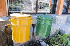 Old recycling litter bins Royalty Free Stock Photo