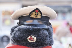 Old Red Army hats at flea market Royalty Free Stock Image