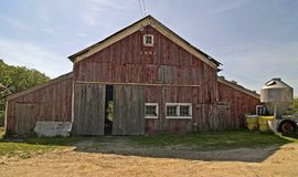 Old red barn 1851. Old red barn built in 1851 and still standing. West off cedar lake, Indiana stock photo