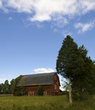 Old red barn. An old red barn on a hill Royalty Free Stock Photo