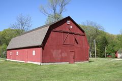Old Red Barn. Located in public park royalty free stock image