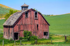 Old Red Barn. Old Abandoned Red Barn in Palouse Region of Washington State Stock Photos