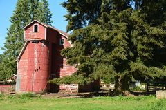 Old Red Barn with Silo near Sandy, Oregon. This is an old red barn with a built-in silo on a farm in Sandy, east of Portland, Oregon Royalty Free Stock Photos