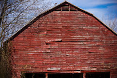 Old Red Barn. Close up of an old red barn near Winston-Salem, North Carolina in Davidson County Stock Photos