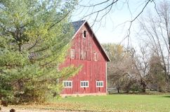 Old Red Barn in the Country Stock Image