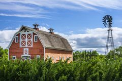 Old Red Barn on Farm Stock Images