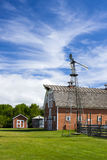 Old Red Barn on Farm Stock Image