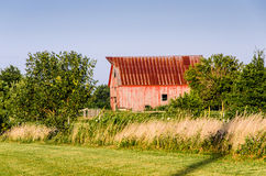 Old red barn on a farm. In rural Missouri town Royalty Free Stock Photo
