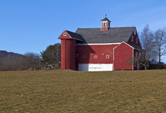 Old red barn in field Stock Photo