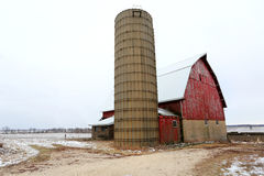 An Old Red Barn In Illinois. Old red barn on a snowy day in Illinois Stock Photos