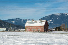 Old red barn on mountaing view background. Industrial agriculture building in disrepair. Old red barn on mountaing view background. Panoramic view on animal farm Stock Photography