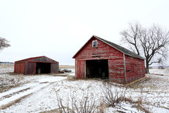 Old Red Barn and Shed in Illinois. Old red barn and shed in the snow in Illinois Royalty Free Stock Images