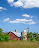 Old Red Barn and Silo Stock Images