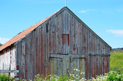 Old red barn in summer Stock Photos