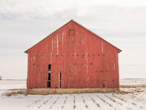 Old red barn white snow Royalty Free Stock Photography