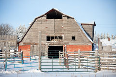 Old Red Barn in Winter Royalty Free Stock Image